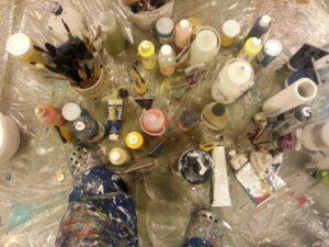 art materials in atelier